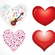 Abstract glossy hearts set - Stock Vector