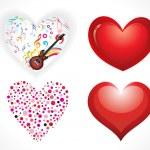 jeu abstrait coeurs brillants — Vecteur