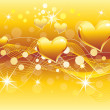 Abstract golden heart background — Stockvektor