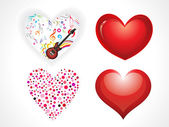 Abstract glossy hearts set — Stock Vector