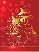 Abstract red shiny golden floral — Stock Vector