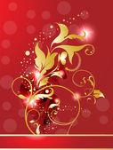 Abstrakt gyllene glänsande röda blommor — Stockvektor