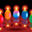 Colorful glossy burning candles — Stock vektor
