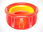Plastic glossy red tub — Stock Vector