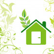 Stock Vector: Abstract eco green home icon