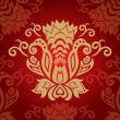 Abstract red golden floral background - Stockvektor