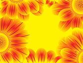 Yellow blooming flower border — Stock Vector