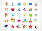 Abstract multiple colorful shiny icons set — Stock Vector