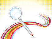 Abstract magnifier with pencil background — Stock Vector