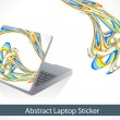 Abstract colorful line wave laptop sticker — Stock Vector