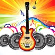 Abstract colorful guitar with sound concept - Stock Vector