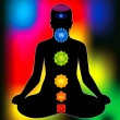 Colorful aura with all chakras of body - Stock Vector