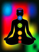 Colorful aura with all chakras of body — Stock Vector