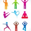 Royalty-Free Stock Imagem Vetorial: Abnstract colorful yoga icon
