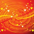 Abstract orange wave background with hearts — Stock Vector