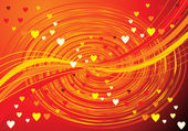 Abstract orange wave background with hearts — Vettoriale Stock