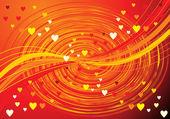 心の抽象的なオレンジ波背景 — ストックベクタ