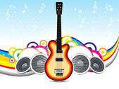 Abstract musical background with guitar — Stock Vector