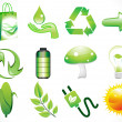 Abstract shiny eco icons set — Stock Vector