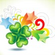 Stock Vector: Abstract st patrick clover explode