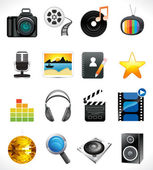 Abstract multiple media icon set — Stock Vector