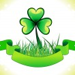 Abstract st patrick clover with grass - Stock Vector
