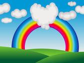 Abstraktní barevné duhy s láskou cloud — Stock vektor