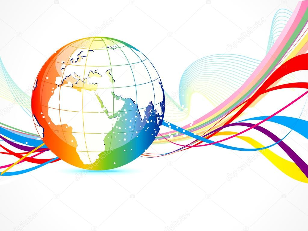Abstract colorful globe background stock vector for International decor images