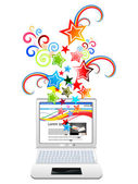 Abstract magical laptop explode — Stock Vector
