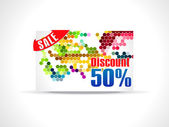 Abstract fifty percent discount card template — Stock Vector