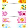 Abstract multiple floral banner set — Stock Vector