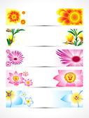 Abstraktní více květinové korouhev sada — Stock vektor