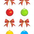 Abstract colorful glossy christmas balls with bow - 图库矢量图片