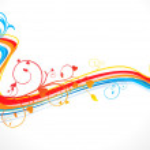 ola floral artística abstracta — Vector de stock