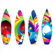 Abstract colorful surf board set — Imagens vectoriais em stock