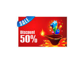 Abstract diwali discount gift card — Stock Vector