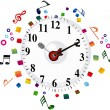 Abstract musical clock background — Stock Vector