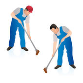 Two professional cleaners wiping the floor wall with a swab — Stock Vector