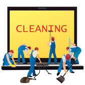 Six cleaners with big notebook — Stock Vector