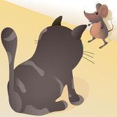 Little mouse against big cat — Stock Vector