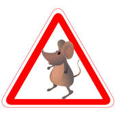 Warning road sign with a funny mouse — Stock Vector