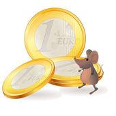 Little mouse near Euro coins — Stock Vector