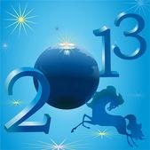 Stylish horse and 2013 New Year symbols — Stock Vector
