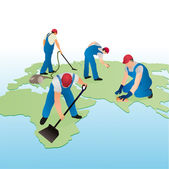 Four cleaners working on the world`s map — Stock Vector