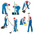 Set of seven cleaners in blue uniform - Stockvectorbeeld