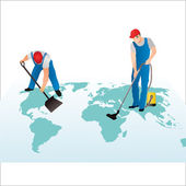 Two professional cleaners on the world`s map — Vecteur