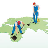 Two professional cleaners on the world`s map — Stock Vector