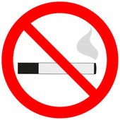 Prohibitory sign with a cigarette and smoke — Stock Vector