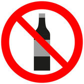 Prohibitory sign with an alcohol bottle — Stock Vector
