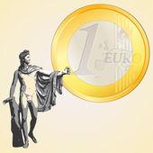 Euro coin and Greek god Apollo — Stock Vector